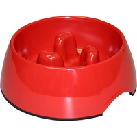 Bowl Round Slow Down Feeder 300ml Melamine Red