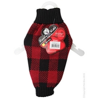 Coat Dog Komfyknit Check 30cm Black/Red