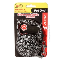 Retractable Leash 3M 12kg And Under Patterned (Silver Black)