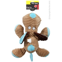 Dog Toy Plush Squeaky Dog Brown/Blue 35cm