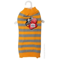 Coat Dog Komfyknit Striped 40cm Grey/Orange