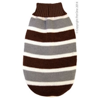 Coat Dog Komfyknit Jumper Striped Brown\Grey 20cm