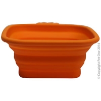 Bowl Silicone Square Travel Bowl S 420ml Orange