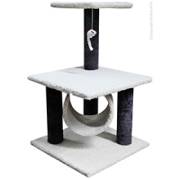 Plush Post W/roll And Hanging Toy 39 x 39 x 66cm (cream/black)