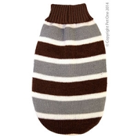 Coat Dog Komfyknit Jumper Striped Brown\Grey 50cm