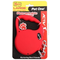 Leash Retractable 5m 40kg And Under Red