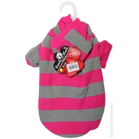 Coat Dog Komfyknit Striped W/ Hood 35cm Pink/Grey
