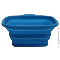 Bowl Silicone Square Travel Bowl S 420ml Blue