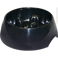 Bowl Round Slow Down Feeder 300ml Melamine Black