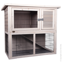 Rabbit Hutch Wooden Two Storey (S) 104W X 52D X 92hcm