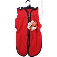 Coat Dog JumpSuit Heavy Fleece Zip Up 50cm Red