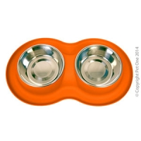 Bowl Silicone S/S Double Bowl M 350ml x 2 Orange
