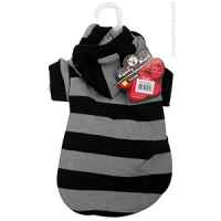 Coat Dog Komfyknit Striped W/ Hood 35cm Black/Grey