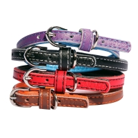 Collar Leather With Synthetic Padding Puppy 30cm Red