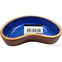 Bowl Terracotta/Blue Glazed Kidney Shape