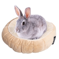 Small Animal Bed Ultra Plush Quilted Round 20cm Latte
