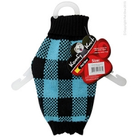 Coat Dog Komfyknit Check 25cm Black/Blue