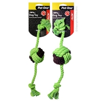 Dog Toy Activ Rope W Rope Ball Green Brown 35cm