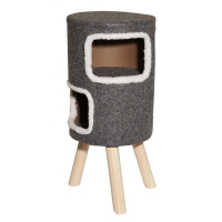 Scratching Tree Round With 2 Cubbies 35x35x70cm (grey)
