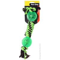 Dog Toy Activ Rope W Dumbbell TPR Ball Green Brown 36cm