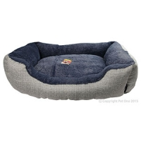 Bed Square Plush & Weave 60x50x17cm DK Grey + LT Grey