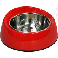 Bowl Round Feed Retainer 350ml Melamine/SS Red