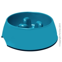 Bowl Round Slow Down Feeder 600ml Melamine Turquoise