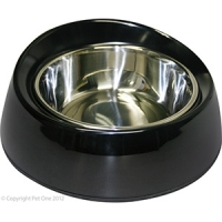 Bowl Round Feed Retainer 350ml Melamine/SS Black