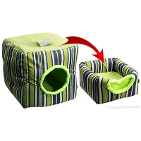 Cat Cubby Cat Bed 35 X 35 X 35cm Summer Striped Green
