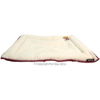 Bedding Cushion Rectangular Waterproof Base W/sheepskin Top 90 x 60cm Red