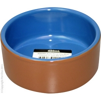 Bowl Terracotta/Blue Glazed 11.7cm Dia 450ml