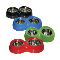 Bowl Round Feed Retainer Double 250/600ml Melamine/sS Red
