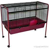 Rabbit Hutch 105 x 53.5 x 90.5cm With Wheels Burgundy