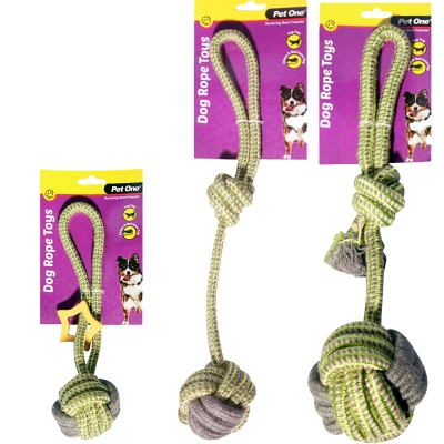 Dog Toy Tug Rope 10cm Ball With Knot