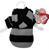 Coat Dog Komfyknit Striped W/ Hood 20cm Black/Grey