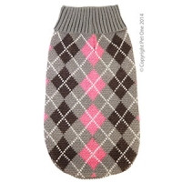Coat Dog Komfyknit Jumper Check Grey\Pink 40cm