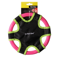 Dog Toy Activ Rubber & Material Frisbee 23cm Dia Pink