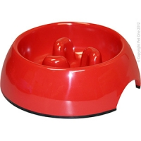 Bowl Round Slow Down Feeder 140ml Melamine Red