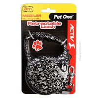 Leash Retractable 3m 20kg And Under Patterned Silver/Black