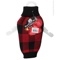 Coat Dog Komfyknit Check 25cm Black/Red