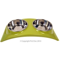 Bowl Melamine/SS Slim Style Double Dinner M Lime Green