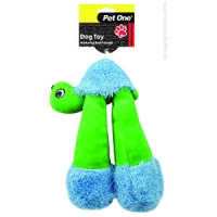Dog Toy Plush Squeaky Long Legs Tortoise Green/Blue 24cm