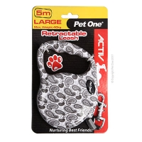 Leash Retractable 5m 40kg and under patterned Silver/White