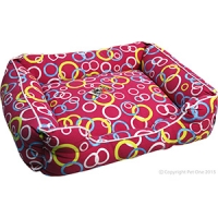Bedding Square 70 x 60 x 18cm Red with Coloured Rings