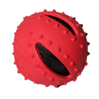 Dog Toy Activ Rubber Crunchy Ball 9.5cm Dia Red
