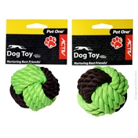 Dog Toy Activ Rope Ball Small Green Brown 6cm