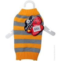 Coat Dog Komfyknit Striped 25cm Grey/Orange