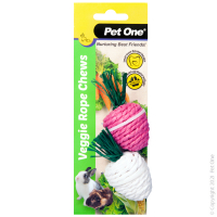 Veggie Rope For Small Animals Twin Pack - Radishes (white/pink)