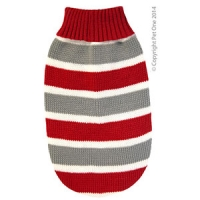 Coat Dog Komfyknit Jumper Striped Red\Grey 40cm