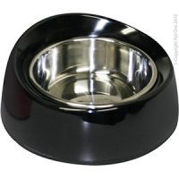 Bowl Round Feed Retainer 160ml Melamine/SS Black
